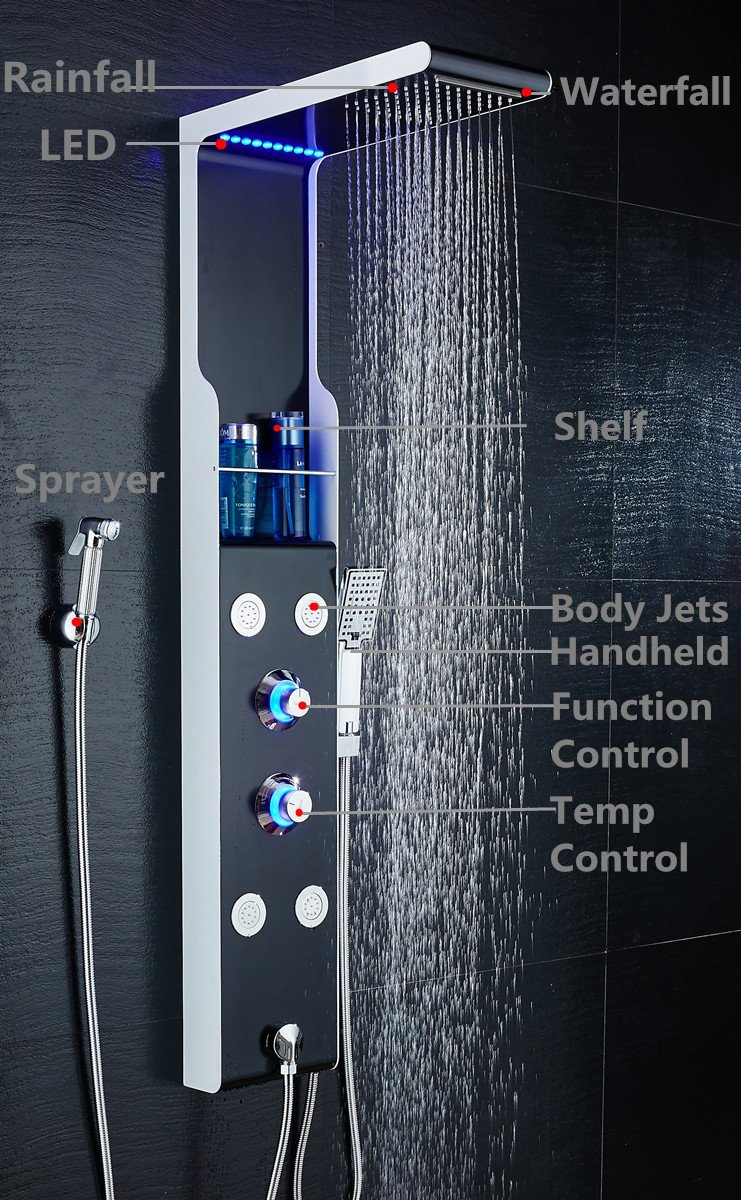 Ello Amp Allo Stainless Steel Shower Panel Tower System Led Rainfall Waterfall Shower Head 5