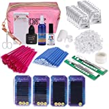 Eyelash Extension Kits, Beauty Star False Lashes Tool C Curl Eyelahes Lashes Strip Graft Glue Lint-Free Under Patch Pad Tweezers Cleansing Lotion Tools Case Bag Set