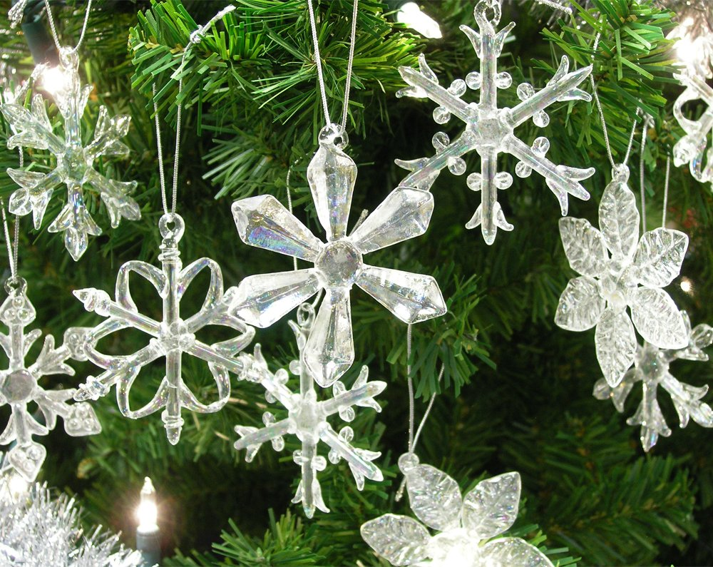 Glass Iridescent Snowflake Ornaments - Boxed Set of 12 Snowflakes in 6 Different Patterns - 2.5