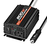 POTEK 200W Power Inverter DC 12V to 110V with 2A USB Charging Port for Laptop, Tablet and Smart Phone (Tamaño: 200W)