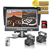 DOUXURY Backup Camera System, 2 Split Screen 7'' Dual View AHD 1080P Monitor with DVR Recording Function, IP69 Waterproof 1080P Backup Camera with Sony Sensor for Truck Trailer Heavy Box RV Camper Bus (Color: black, Tamaño: Medium)