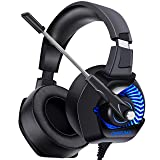 ONIKUMA II Gaming Headset for PS4, Xbox One, PC, Nintendo Switch, Over-Ear Noise Cancelling Headphones with Soft Memory Earmuffs, 7.1 Surround Sound, Volume/Mic Control, LED Light for Laptop Mac (Color: 1-Blue, Tamaño: 2*2*3)