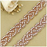 QueenDream Handmade Bridal Rose Gold Rhinestone Applique Belt for Wedding-3yard (Color: 012t-rose Gold, Tamaño: 3 Yard)