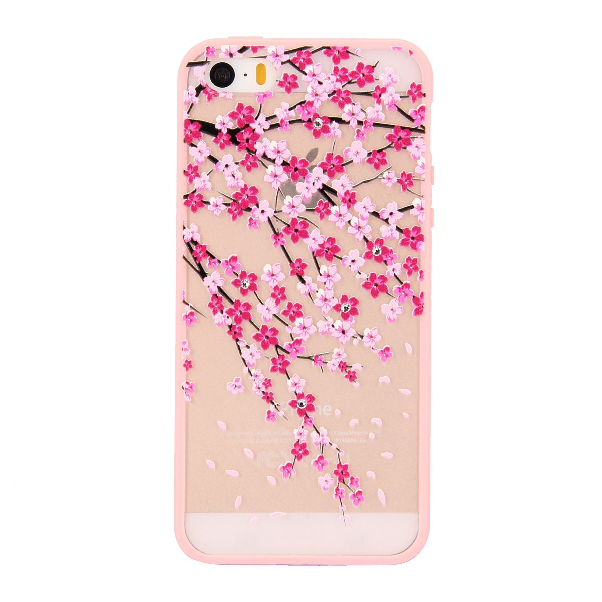 IKASEFU Diamond Hard Back Case for iPhone 5/5S,Pretty Pink Bloosom Flower Design Crystal Clear Shiny Hard Back Case Cover Rubber Frame for iPhone 5/5S -Pink Bloosom Flower