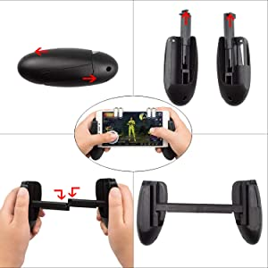 EAONE Mobile Game Controller, 2-in-1 Gamepad Joysticks Sensitive Shoot Aim Fire Triggers with 5 Keychains for PUBG/Knives Out/Rules Survival Fits iOS and Android