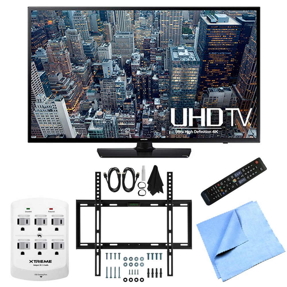 Samsung UN40JU6400 - 40-Inch 4K Ultra HD Smart LED HDTV Slim Flat Wall Mount Bundle includes UN40JU6400 - 40-Inch 4K Ultra HD Smart LED HDTV, Slim Flat Wall Mount Kit, 6 Outlet Wall Tap w/ 2 USB Ports and Microfiber Cloth