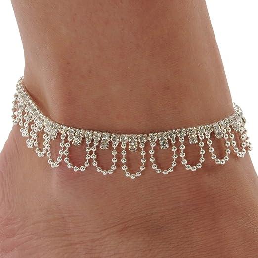 Rhinestone Drape Stretch Anklet Bracelet Austrian Crystal Silver Tone Ankle Clear