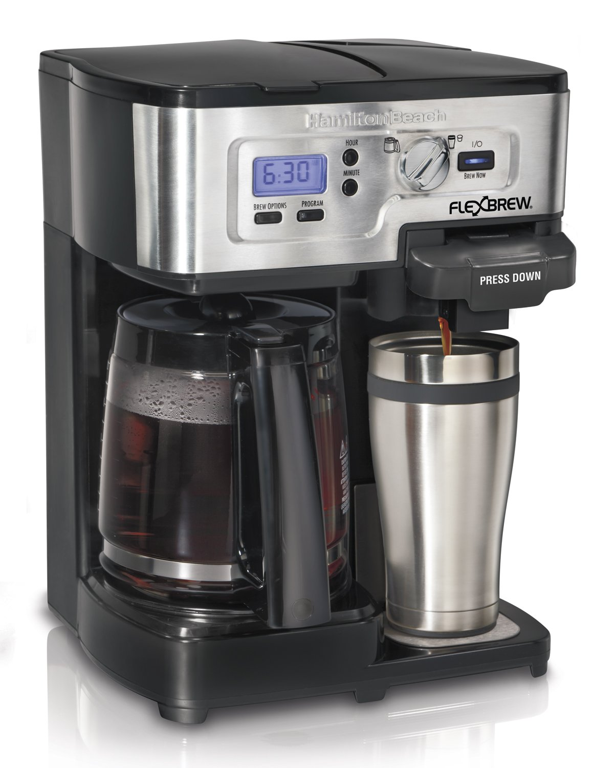 One Cup Coffee Maker K Cup : Hamilton Beach Single Serve Coffee Brewer and Full Pot Coffee Maker FlexBrew ... eBay