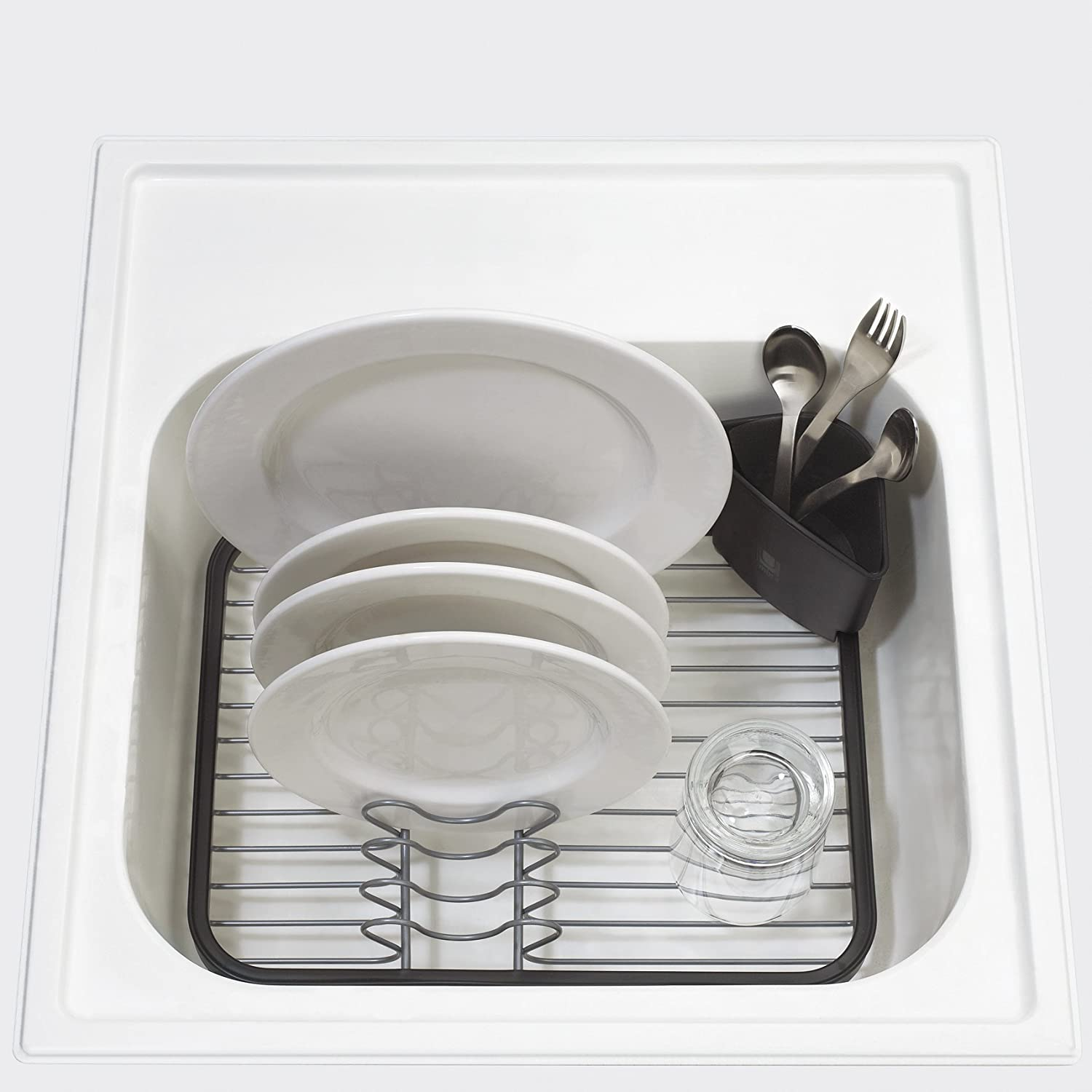 Wire Dish Drip Dry Rack Sink Grid Utensil Drainer Movable