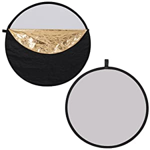 Neewer 5-in-1 Collapsible Multi-Disc Light Reflector 22inches/60centimeters Translucent/Silver/Gold/White/Black and 6-Pack Muslin Backdrop Spring Clam