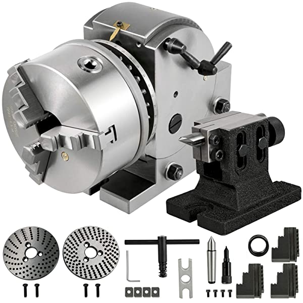 BestEquip Dividing Head BS-1 Dividing Head Set 6 3-jaw Chuck Semi Universal Milling Set with 6 Chuck+Tailstock+Dividing Plates for Milling Grinding Drilling Machine