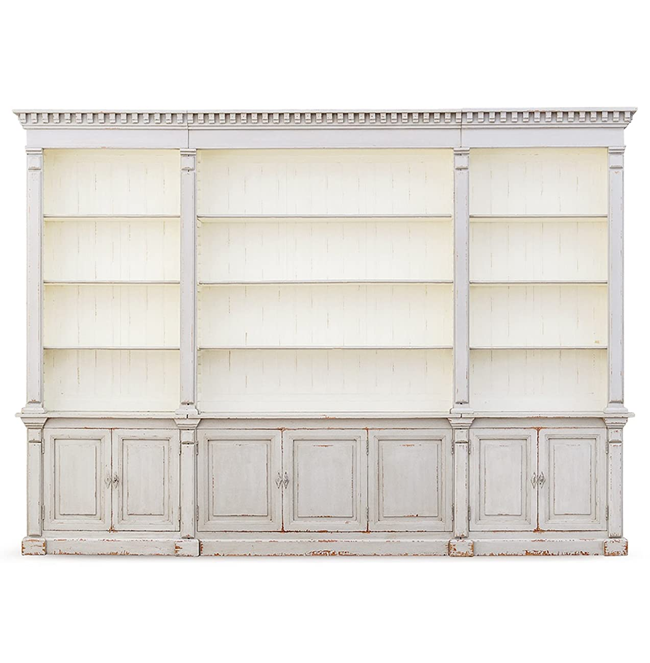 Laundress French Country Distressed Grey Large Display Bookcase 2