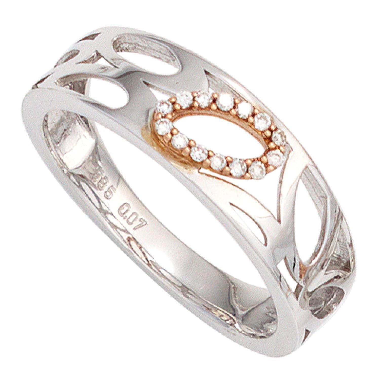 Damen Ring 585 Bicolor Weißgold Rotgold kombiniert 14 Diamanten Brillanten als Weihnachtsgeschenk kaufen