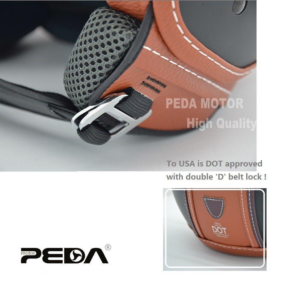 PEDA Italian Design (MOCA B) ECE DOT Motorcycle Helmet,Unisex Open Face ITALY Jet Sport Urban Vintage CASCOS,Leather Style,Capacete,Half Helmet (Medium) 5