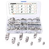 LOKMAN Stainless Steel Single Ear Hose Clamp, 80Pcs 6-23.6mm Crimp Hose Clamp Assortment Kit Ear Stepless Cinch Rings Crimp Pinch Fitting Tools (1/4 inch - 15/16 inch)