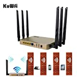 KuWFi High Power Wireless Gigabit Router, wireless Gigabit Access Point 802.11 ac router 1200Mbps Cover Long Area Support more than 100Users easy to Use Through walls 2000mW 128M DDR2 RAM for Home (Color: Gold)