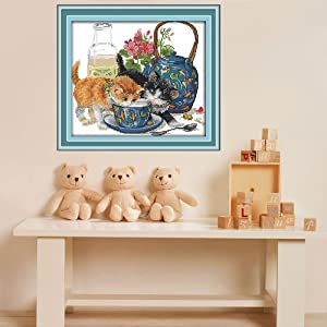 Joy Sunday Stamped Cross Stitch Kits - Counted Cross Stitch Kit, Cross-Stitching Patterns Curious Cat 14CT Pre-Printed Fabric - DIY Art Crafts & Sewing Needlepoints Kit for Home Decor 12''x10'' (Tamaño: 14 CT Stamped)