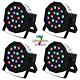 LED Par Light DMX LED Stage Lights Uplights 18 LEDs Lighting Modes DMX Light Controlled Sound for Club Party Show DJ Church Diso KTV,4Pieces 18x3Watts (Color: Black, Tamaño: 4 PACK)