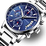 Men's Watches Luxury Sports Casual Fashion Quartz Wristwatches Waterproof Chronograph Calendar Date Stainless Steel Band Blue Color 828-GLgd (Color: B-Blue, Tamaño: M)