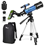 TELMU Telescope 70mm Aperture Refracting Telescope Adjustable(17.7In-35.4In) Portable Travel Telescopes for Astronomy with Backpack, Phone Adapter for Any Model (Color: B, Tamaño: Medium)