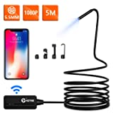 Wireless Endoscope, KZYEE 5.5mm Diameter 1080P 2.0 MP HD Semi-rigid WiFi Borescope Inspection Camera IP67 Waterproof Snake Camera for Android & IOS Smartphone Tablet-16.5FT (Tamaño: 5M)