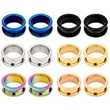 TOPBRIGHT 12Pcs Surgical Steel Double Flare Ear Tunnels and Plugs Ear Gauges Expander Plugs for Ear (Color: Black,Blue,Gold,Rosegold,Silver,rianbow)