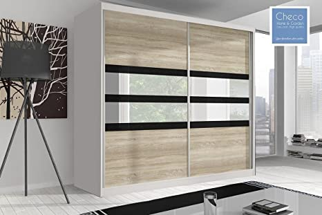 SLIDING DOOR WARDROBE 7 ft 8 (233cm) 'REFLECTION' MULTI F09 WHITE