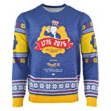 Fallout 76 Christmas Jumper Vault 76 Boy Logo Official Ps4 Xbox Knitted Size XXL (Color: Blue, Tamaño: XX-Large)