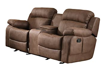 Homelegance 9724DBR-2 Transitional Textured  Bonded Leather Reclining Love Seat with Center Console, Brown