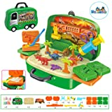 Deardeer Play Dough Dinosaur Set Clay Dino World Pretend Play Toy Dough and Moulds in a Portable Case with Wheels for Kids - 26PCS (Color: Dinosaur)