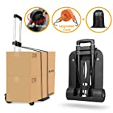 Folding Hand Truck 4 Wheel-roate 75 Kg/165 lbs Heavy Duty Solid Construction Utility Cart Compact and Lightweight for Luggage/Personal/Travel/Auto/Moving and Office Use (Tamaño: 4 wheels Rotate)