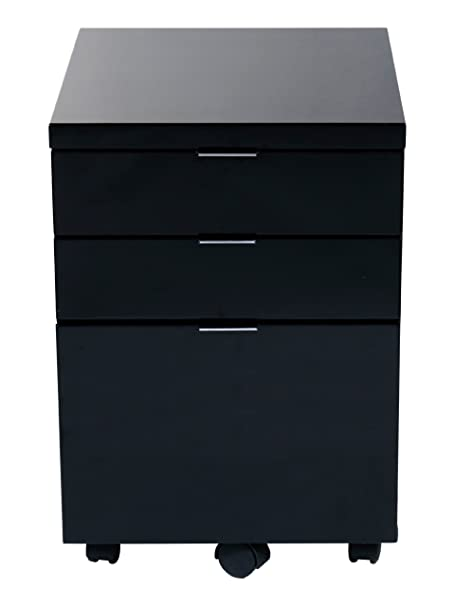Euro Style Gilbert File Cabinet, Black Lacquer