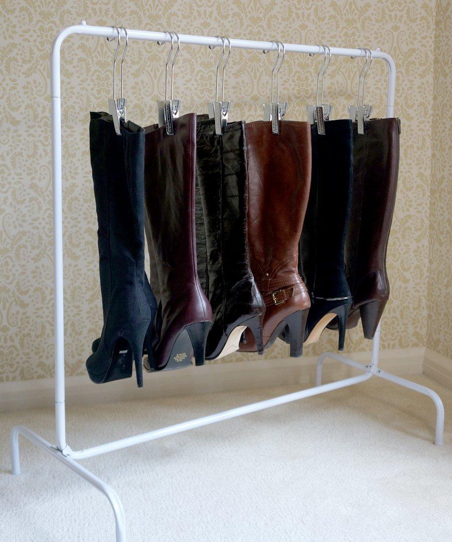 closet shoes boots organizer 6 silver hangers shoe storage unit boot rack new ebay. Black Bedroom Furniture Sets. Home Design Ideas