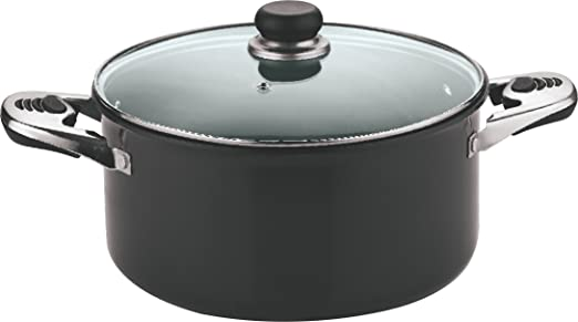 Vinod Cookware Black Pearl Hard Anodised Sauce Pot with Tempered Glass Lid, 2-Pieces, 28cm, Black at amazon