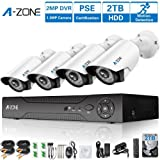 A-ZONE Security Camera System 4 Channel 1080P DVR 4 x 960P HD Waterproof Night Vision Indoor/Outdoor Home CCTV Video Wired Surveillance Kits, Customizable Motion Detection,Pre-installed 2TB HDD (Color: 4CH DVR 4PCS 960P Camera With 2TB HDD)