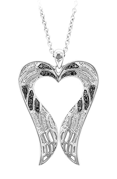 Sterling Silver Angel Feather Wing heart shaped White and Black Diamond Pendant Necklace($159.99)
