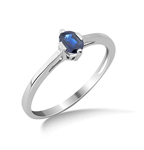 Miore 9ct White Gold Blue Sapphire Engagement Ring MG9122R