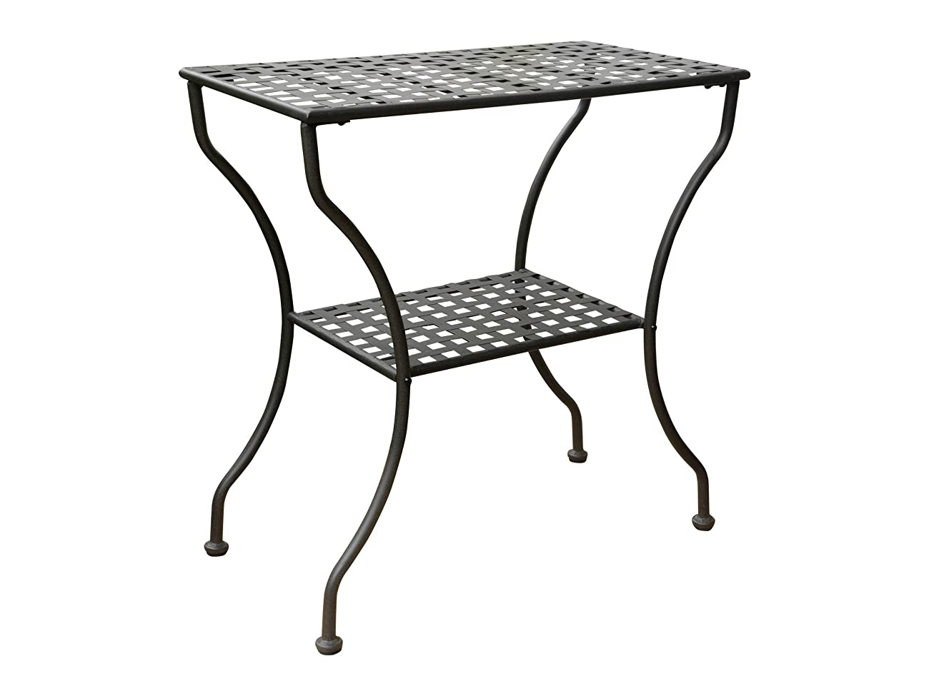 Iron Antique Black 2-Tier Patio Side Table 0