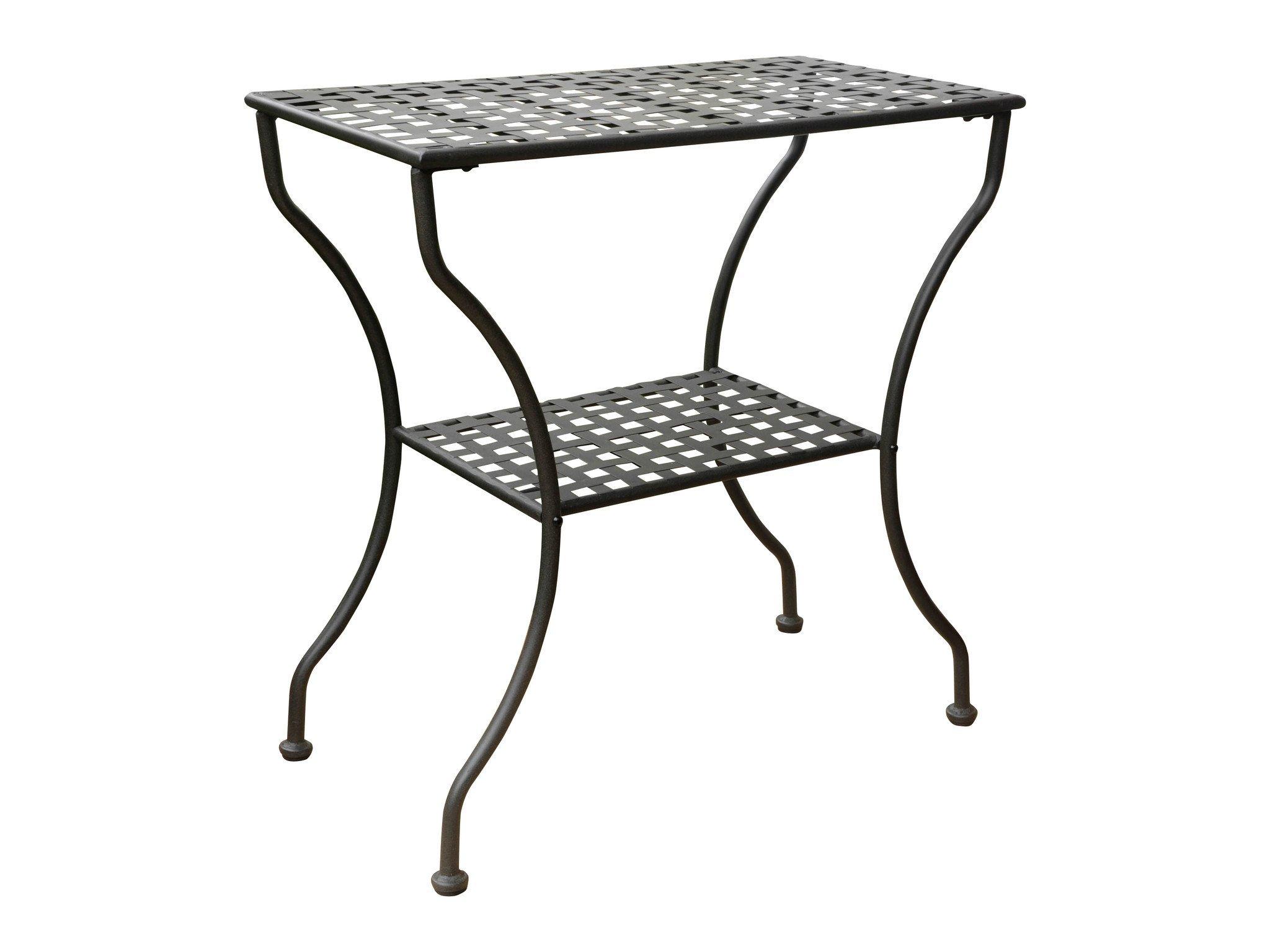 Iron Antique Black 2 Tier Patio Side Table