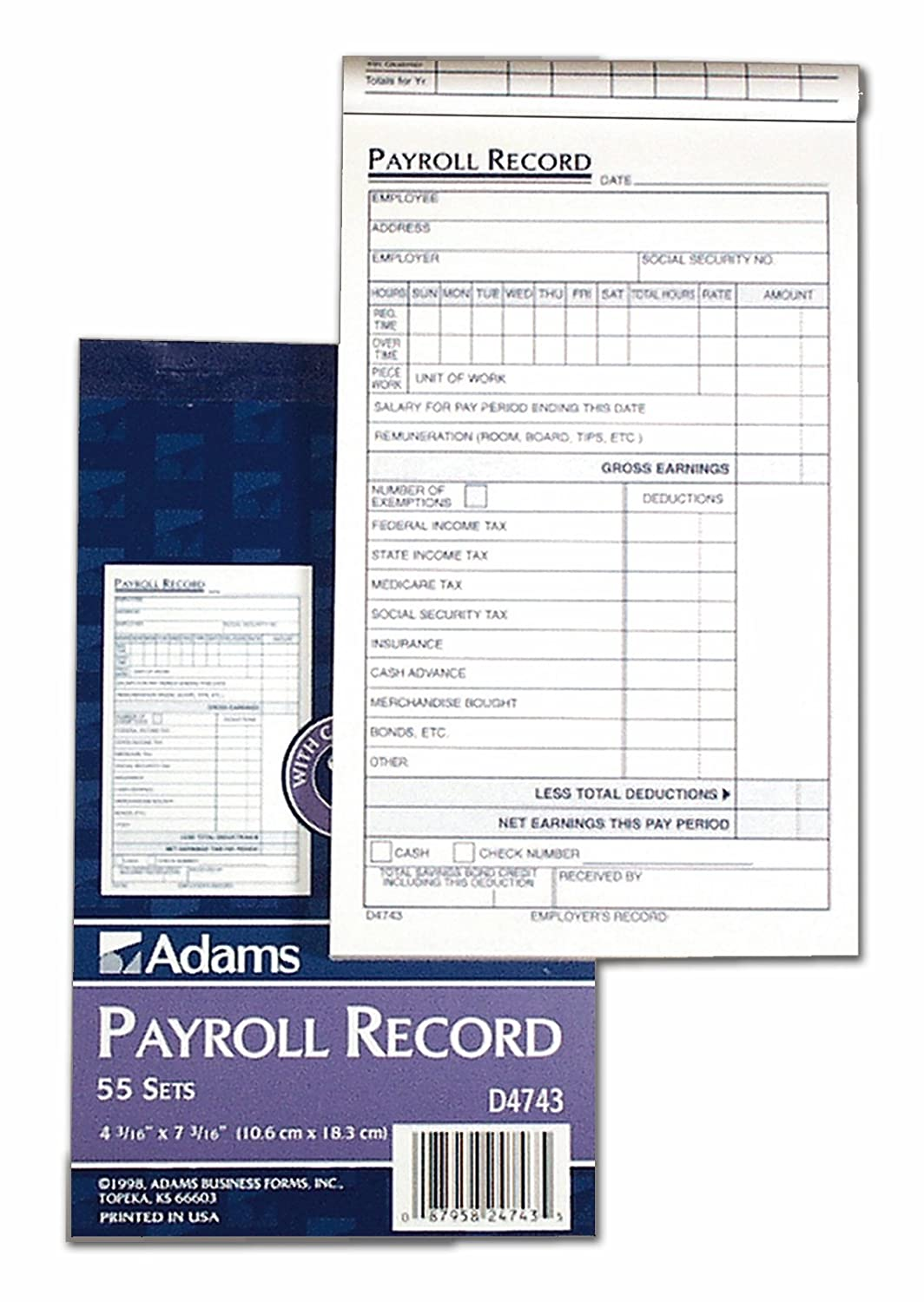 Adams Employee Payroll Record Book, 4.19 x 7.19 Inches, White and Canary, 2-Part, 55 Sets (D4743)