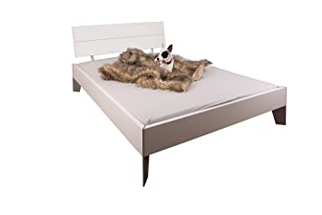 Bett - Doppelbett - weiß - Massivholz - Ehebett - Rahmenbett - MDF - mit Stahlfußen - Elegant und Robust 140x200, 180x200 - Modern (180x200)