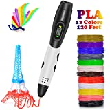 3D Pen with LCD Screen, DigiHero 3D Printing Pen with 1.75mm PLA Filament Pack of 12 Different Colors, Each Color 10 Feet, 3D Print Pen is Perfect Gift for Kids, Adults (Color: #01,black/white)