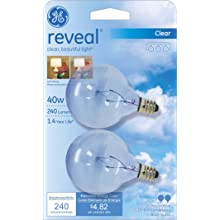GE Lighting 48704 40-Watt Reveal Candelabra Globe G16.5 2-Pack