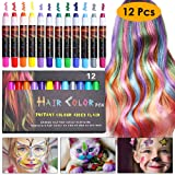 NANW 12 Color Temporary Hair Chalk, Hair Pens Crayon Salon Non-toxic Washable Hair Dye Safe for Cosplay Birthday New Year Christmas Gift for Kids Girls Teen Adults (Color: 12 Colors)