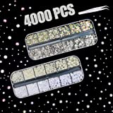 4000 PCS Rhinestones & Pearls for Nail, Flatback Crystal AB Rhinestones and Illusive Pearls in 2 3 4 5 6 mm with Pick Up Tweezer for Girls DIY Craft Face Clothes Shoes Bags Phone Case Arts (Color: Rhinestones & Pearls)