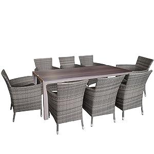 9tlg gartengarnitur sitzgarnitur sitzgruppe polywood tischplatte champagner aluminium. Black Bedroom Furniture Sets. Home Design Ideas
