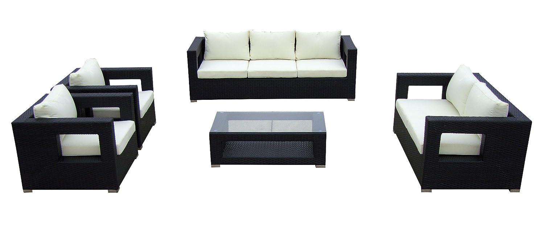 Baidani Gartenmöbel-Sets 10c00003.00001 Designer Lounge-Garnitur Seaside, 3-er-Sofa, 2-er-Sofa, 2 Sessel, Sitzauflagen, 1 Couch-Tisch mit Glasplatte, schwarz