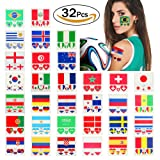VAMEI Temporary Tattoos National Flags Waterproof Face Body Stickers 32 Countries Heart Shaped for 2018 World Cup
