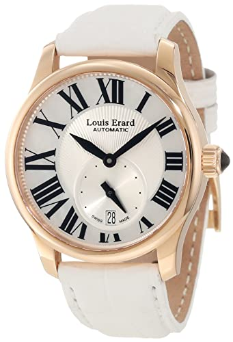 """Louis Erard Women's 92602OR01.BACS5 """"Emotion"""" 18k Rose Gold Automatic Watch with White Leather Band"""
