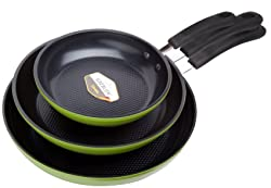 Green Earth Real Frying Pan 3-Pieces Set by Ozeri (8 inch, 10 inch, and 12 inch)